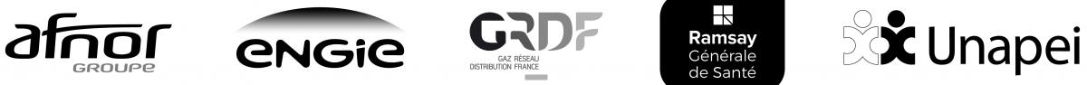 logo Afnor, logo Engie, logo GRDF, logo Ramsay générale de santé, logo Unapei
